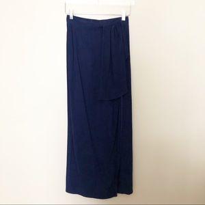 Yves Saint Laurent Navy Midi Wrap Skirt 38
